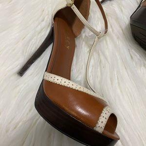 Ralph Lauren Peep Toe Ankle Strap Platform Heel